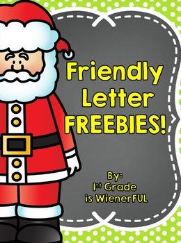 Friendly Letter Freebies ~  Santa, Elves, Hanukkah ~  Grea