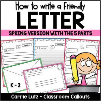 Friendly Letter TEMPLATES with Envelope ~ With the 5 Parts of a Friendly Letter