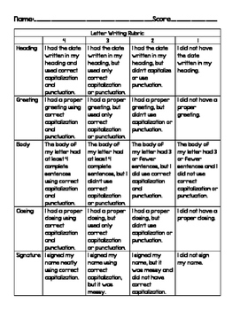 Friendly Letter Grading Rubric