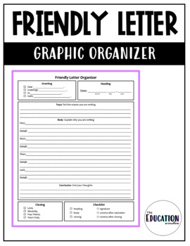 Friendly Letter Graphic Organizer