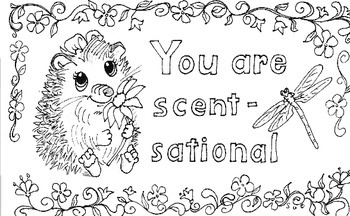 Friendly Letter Hedgehog Greeting card generic for Someone Special to color