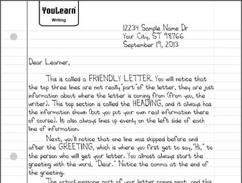Friendly Letter Lesson & Sample All in One