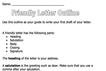 Friendly Letter Outline