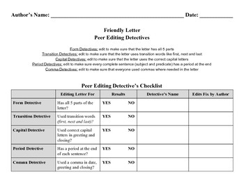 Friendly Letter Peer Editing Checklist
