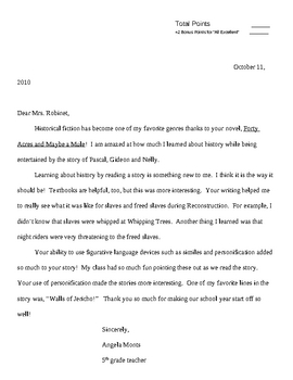Friendly Letter - Rubric and Example Package
