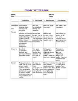 friendly letter rubric student friendly version