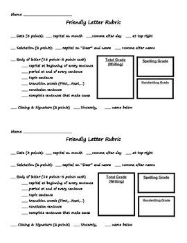 Friendly Letter Scoring Sheet/Rubric