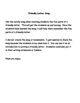 Friendly Letter Song By I Heart Esol Teachers Pay Teachers