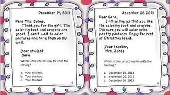 Friendly Letter Task Cards~Multiple Choice