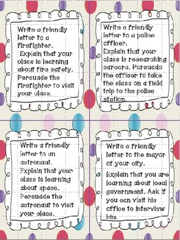 Friendly Letter Task Cards and Writing Prompts (Bundled)