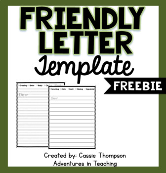 Friendly Letter Template FREEBIE
