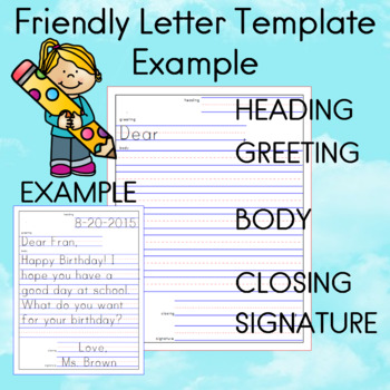 Friendly Letter Template With Examples Teaching Resources Teachers
