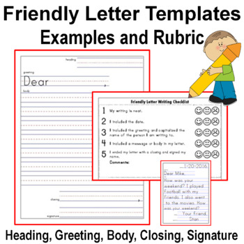 Friendly Letter Templates With Examples And Rubric Checklist