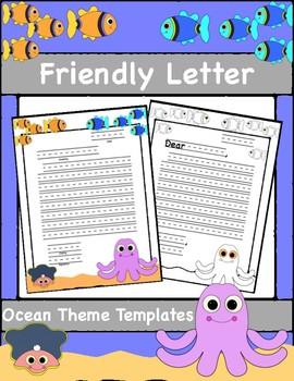 Friendly Letter Templates, Ocean Theme