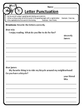 Friendly Letter Worksheets Friendly Letter Writing Worksheet Letter Punctuation
