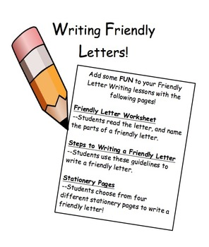 Parts Friendly Letter Worksheet Teaching Resources Teachers Pay