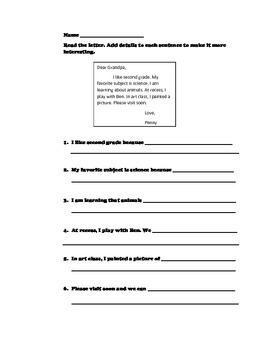 Friendly Letter Writing Activity - Adding details