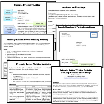 Friendly Letter Writing Activity, Works with any Novel or Short Story