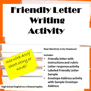 Friendly Letter Writing Activity, Works with any Novel or