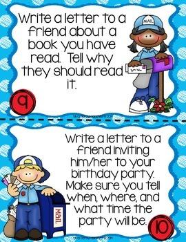 Friendly Letter Writing Center Task Cards