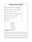 Friendly Letter Writing Checklist /self-assessment