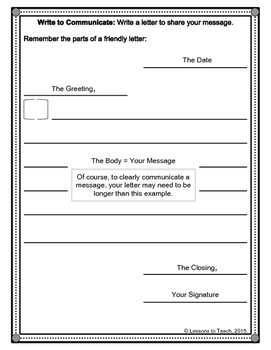 Friendly Letter Writing Paper with Scaffolding