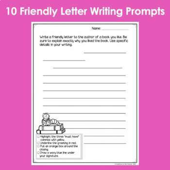Friendly Letter Writing Prompts Pack