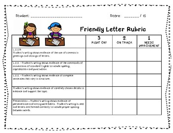 Friendly Letter Writing Rubric ~ Common Core Aligned
