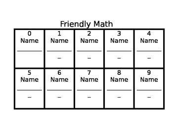 Friendly Math:  A Getting To Know You Math Activity