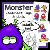 Friendly Monster name labels and tags for classroom decora