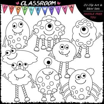 Friendly Monsters - Clip Art & B&W Set