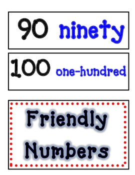 Friendly Number Words Poster-Blue and black