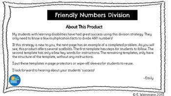 Friendly Numbers Division Mind Map