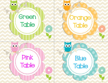 Friendly Owl and Flower Table Labels