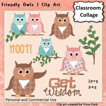 Friendly Owls Dressed Up Clip Art - Color  personal & commercial use