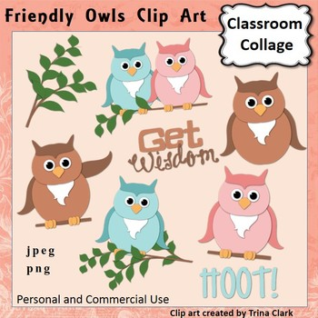 Friendly Owls Clip Art -  Color  personal & commercial use