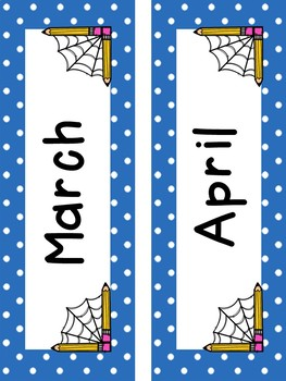 Friendly Spider and Polka Dot Themed Calendar Set w/Days of the Week!