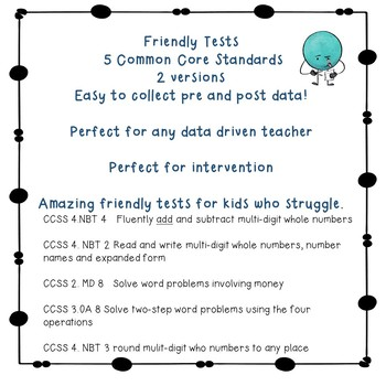 Friendly Test 6 concepts for RSP IEP 504  pre and post test