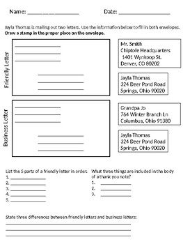 Friendly and Business Letter Worksheet
