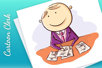 Friendly cartoon clerk with papers