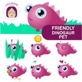 Friendly dinosaur pet packet, clip art