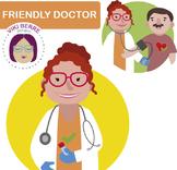 Friendly female doctor, nurse woman, clip art
