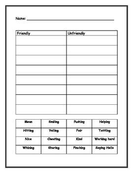 Friendly vs. Unfriendly Worksheet