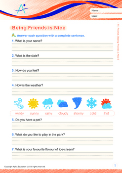 Friends - Being Friends Is Nice - Grade 1 (with 'Triple-Track Writing Lines')
