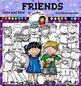 Friends Clip Art . Color and B&W