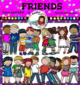Friends Clip Art . Color and B&W