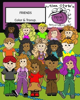 Friends Clipart~Kids~Children~Expressions~Color and Transp.  50+ Images!!