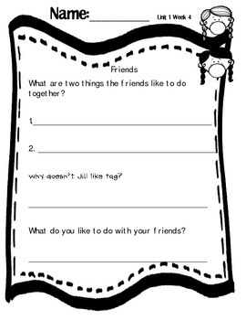 FREE Friends Comprehension Page First Grade Wonders Unit 1 Week 4