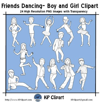 Friends Dancing Boy and Girl Clipart