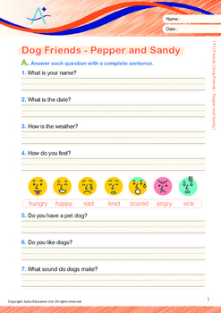 Friends - Dog Friends: Pepper and Sandy - Grade 1 ('Triple-Track Writing Lines')